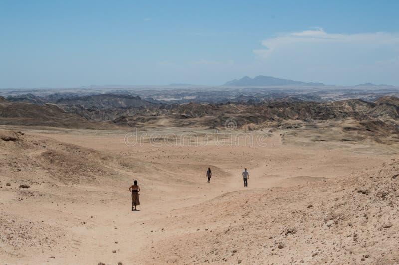 Księżyc krajobraz w Welwitschia równinach z ludźmi Chodzić fotografia stock