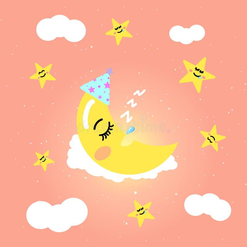 Księżyc kreskówki dosypianie w różowym pastelu niebie z gwiazdami dalej interliniuje ilustracja wektor