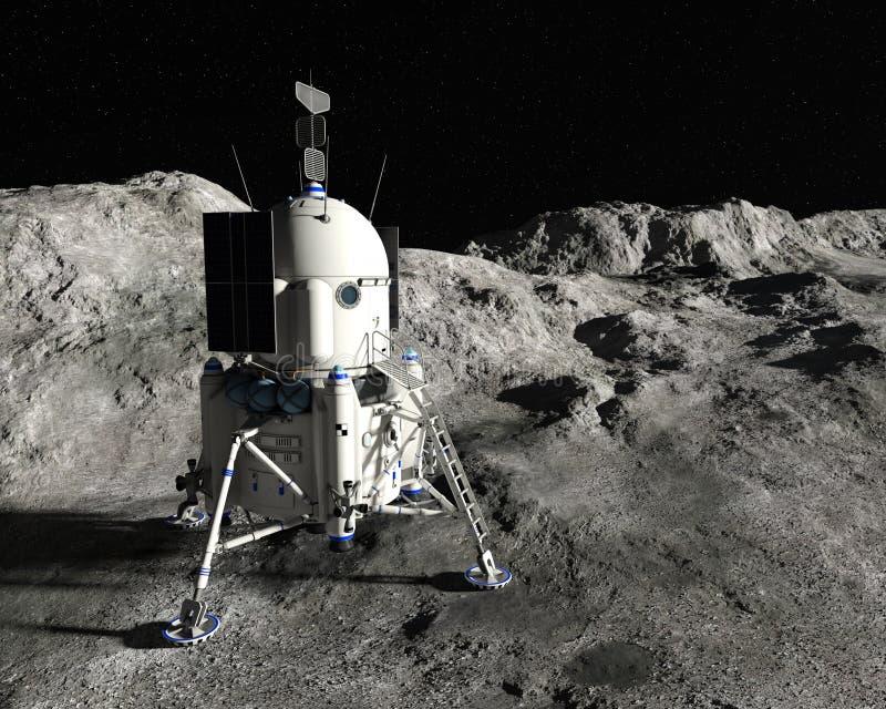 Księżyc Księżycowego lądowania moduł, eksploracja przestrzeni kosmicznej ilustracja wektor