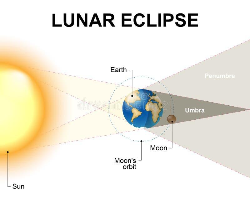 księżyc - luna, zaćmienie nad morzem ilustracja wektor