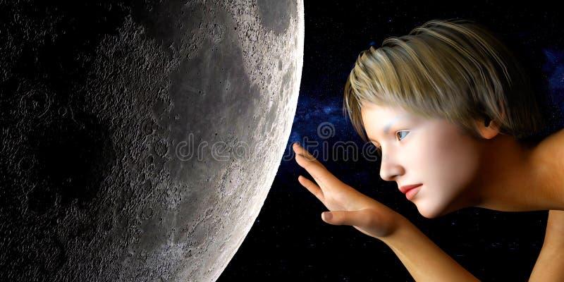 księżyc macanie ilustracji