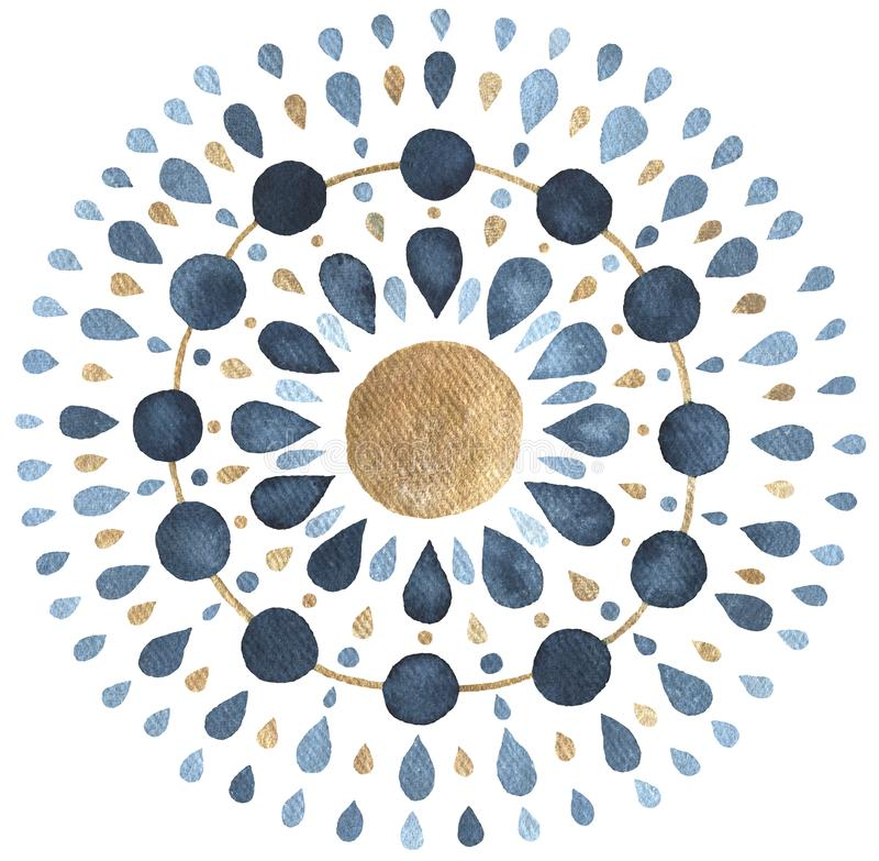 Księżyc mandala w błękicie i złocie ilustracji