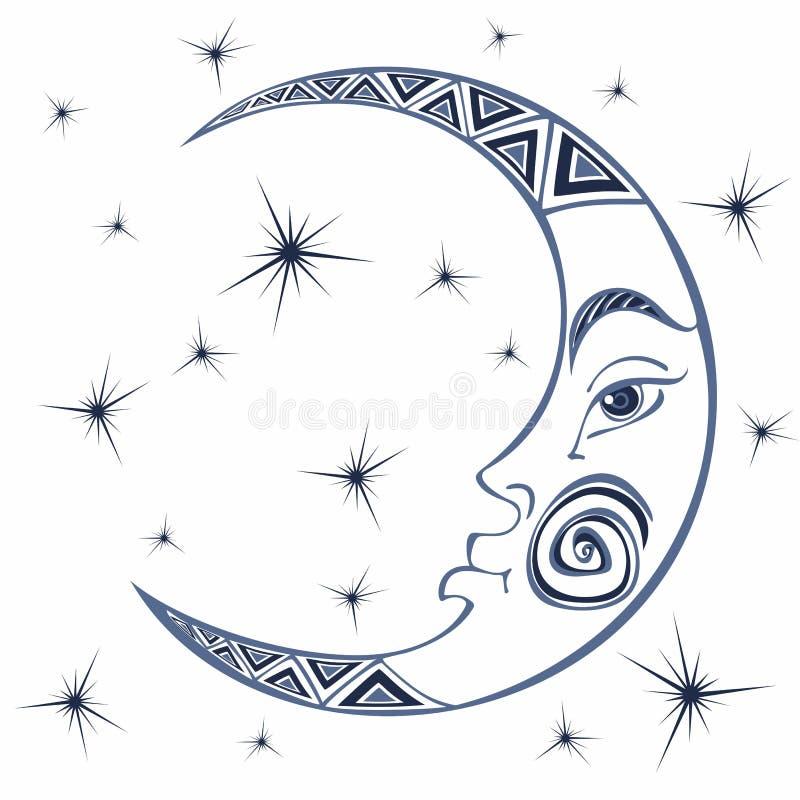 księżyc miesiąc Antyczny astrologiczny symbol rytownictwo Boho styl ethnic Symbol zodiak Ezoteryk Mistyczny wektor ilustracji