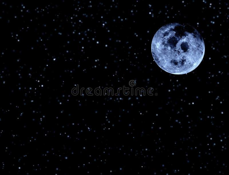 Księżyc na nocnym niebie i gwiazdach ilustracji