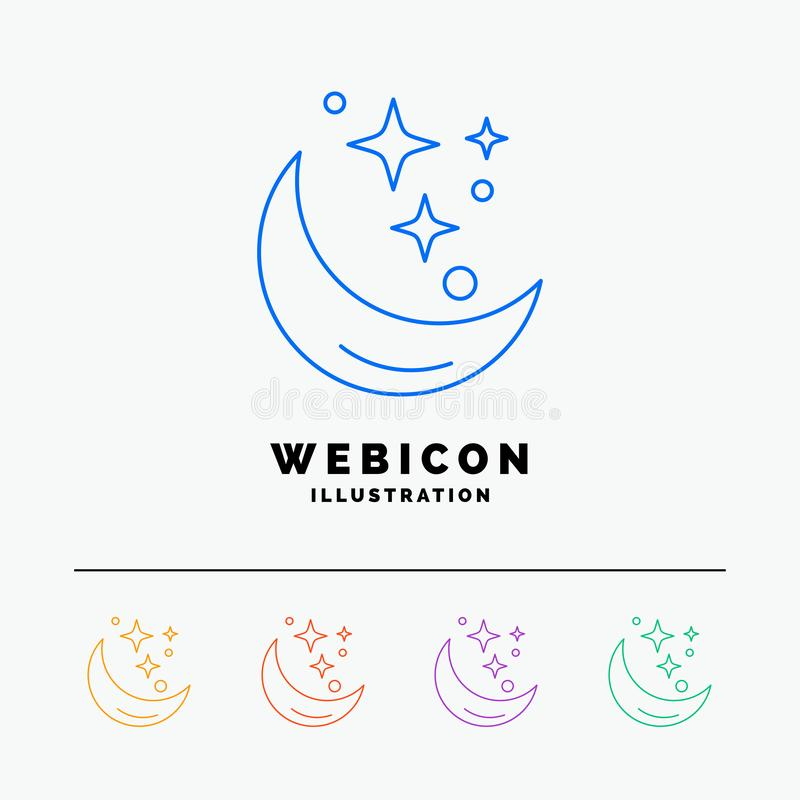 Księżyc, noc, gwiazda, pogoda, interliniuje 5 koloru linii sieci ikony szablon odizolowywającego na bielu r?wnie? zwr?ci? corel i royalty ilustracja