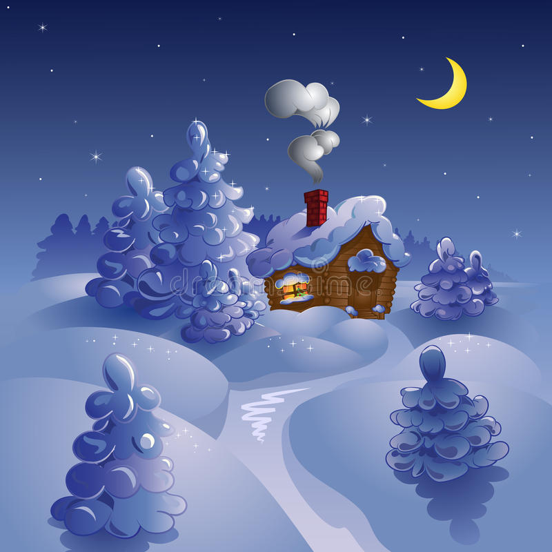 księżyc noc zima royalty ilustracja