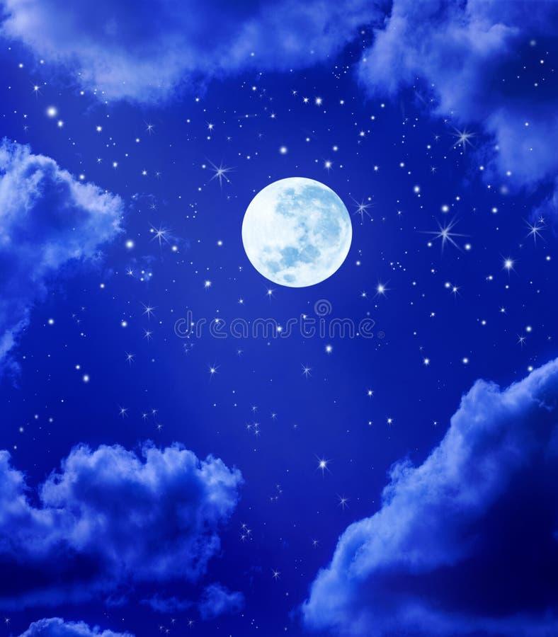 księżyc nocnego nieba gwiazdy royalty ilustracja