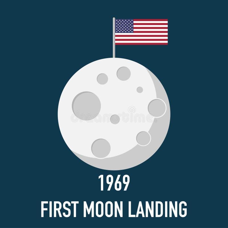 Księżyc pierwszy 1969 lądowania projekta płaski wektor ilustracja wektor