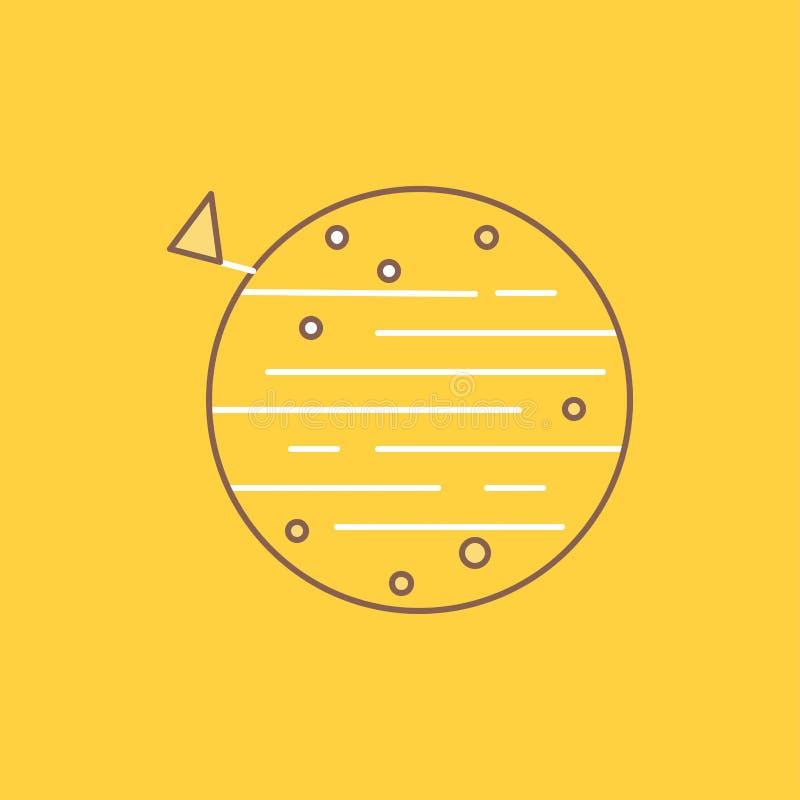 księżyc, planeta, przestrzeń, squarico, ziemska mieszkanie linia Wypełniał ikonę Pi?kny logo guzik nad ? ilustracja wektor