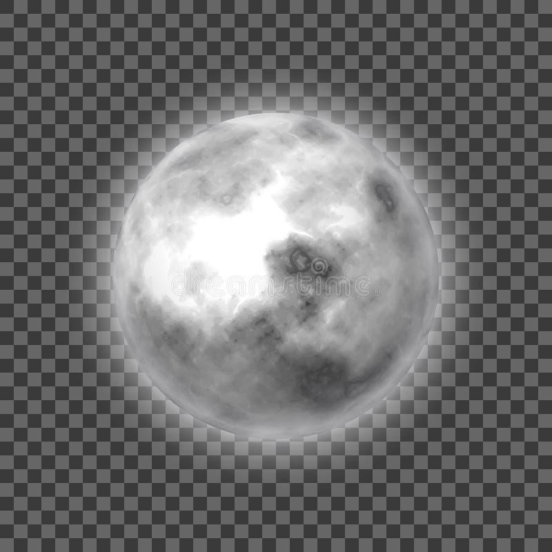 Księżyc, przejrzysty tło, nadziemski ciało, kreskówka, realistyczna ilustracja wektor