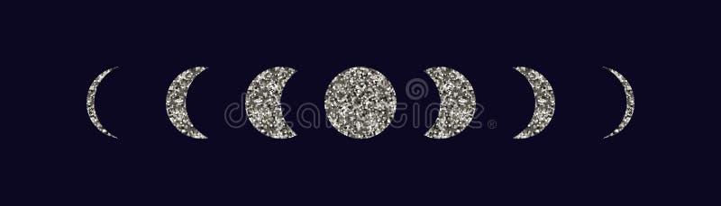 Księżyc przeprowadza etapami ikony ustawiać ilustracja wektor