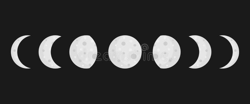 Księżyc przeprowadza etapami wektorowe ikony na ciemnym tle ilustracji
