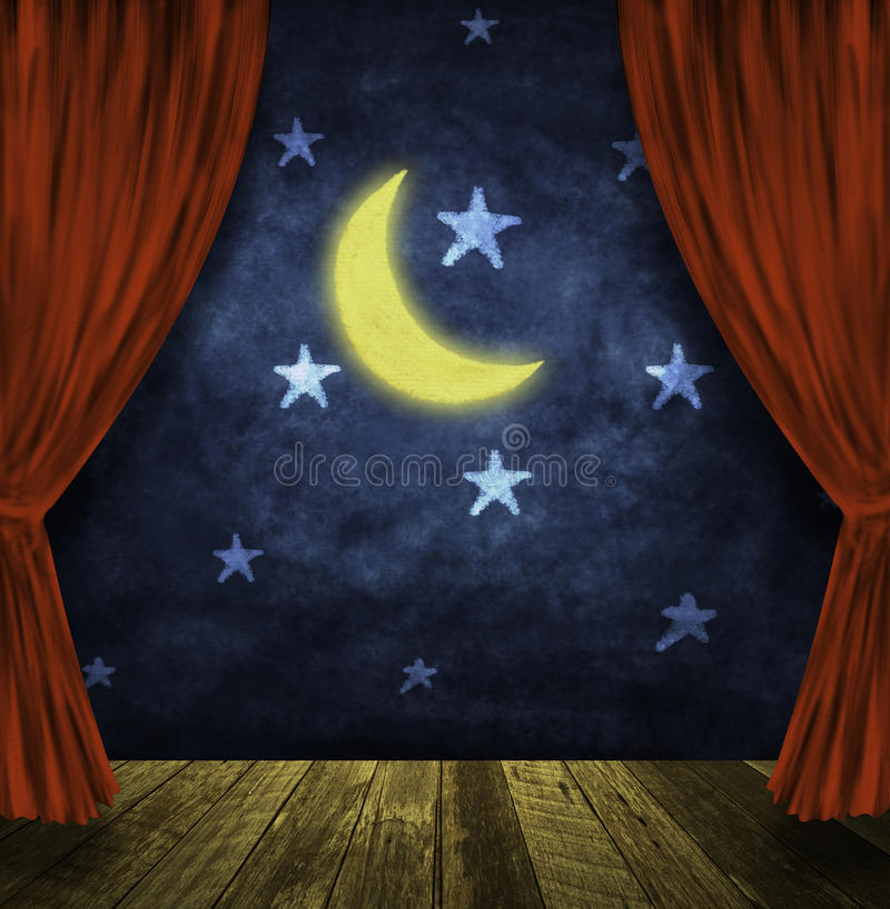 księżyc scena grać główna rolę teatr ilustracji