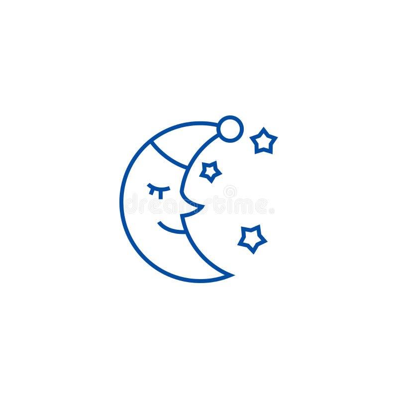 Księżyc twarz, sen czasu linii ikony pojęcie Księżyc twarz, sen czasu płaski wektorowy symbol, znak, kontur ilustracja ilustracja wektor