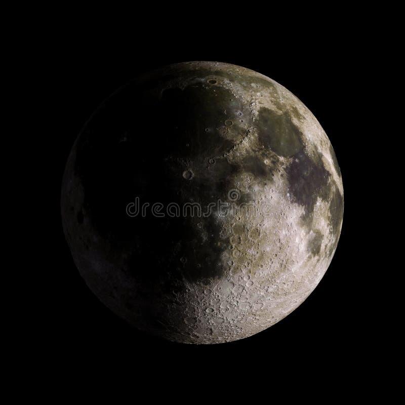 Księżyc układu słonecznego planeta na czarnym tła 3d renderingu ilustracji