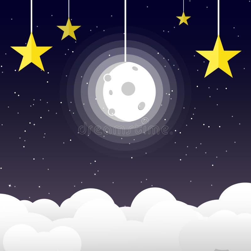 Księżyc w nocnym niebie z gwiazdami na przestrzeni i galaxy tle, lepidło ilustracji