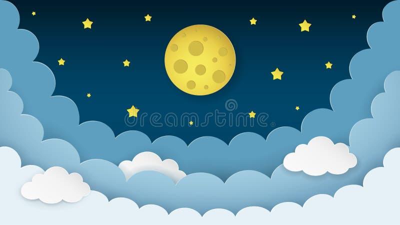 Księżyc w pełni, gwiazdy, chmury na ciemnym midnight nieba tle Nocne niebo scenerii tło papierowy sztuka styl ilustracja wektor