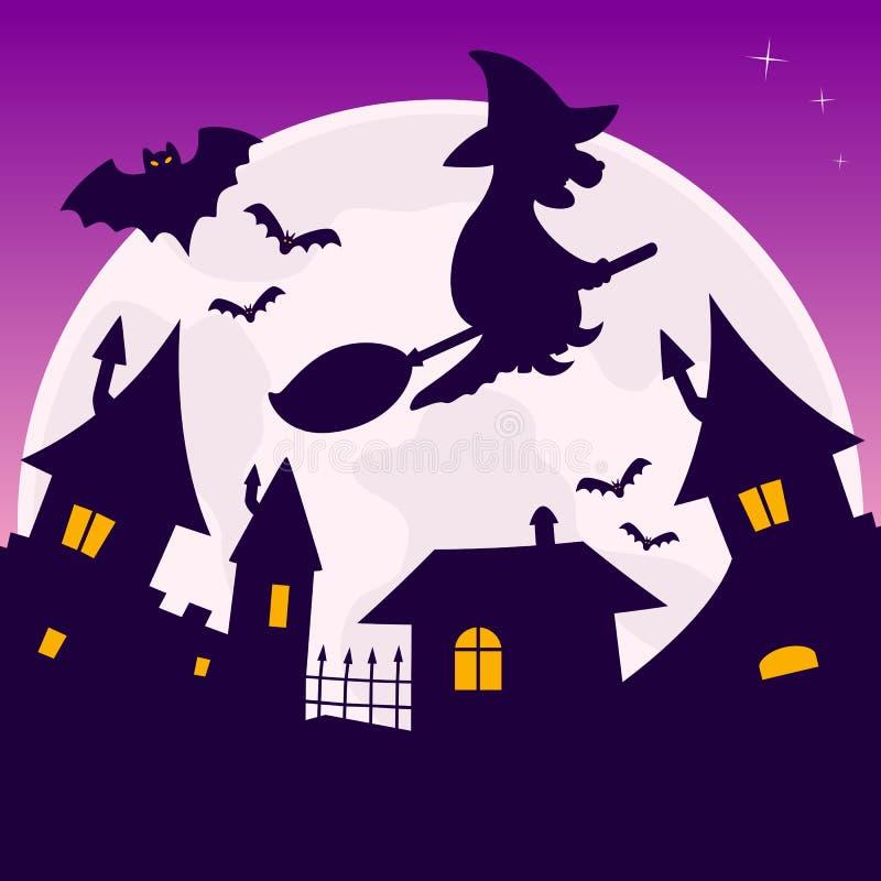 Księżyc W Pełni Halloween noc royalty ilustracja