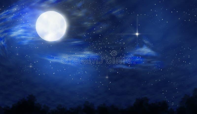Księżyc w pełni noc royalty ilustracja