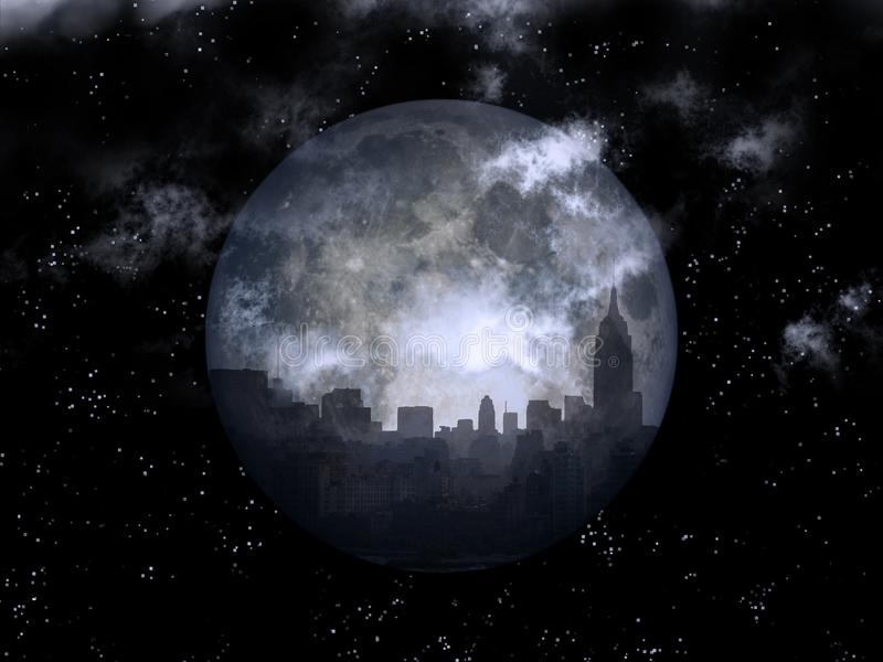 Księżyc w pełni nocy miasto ilustracja wektor