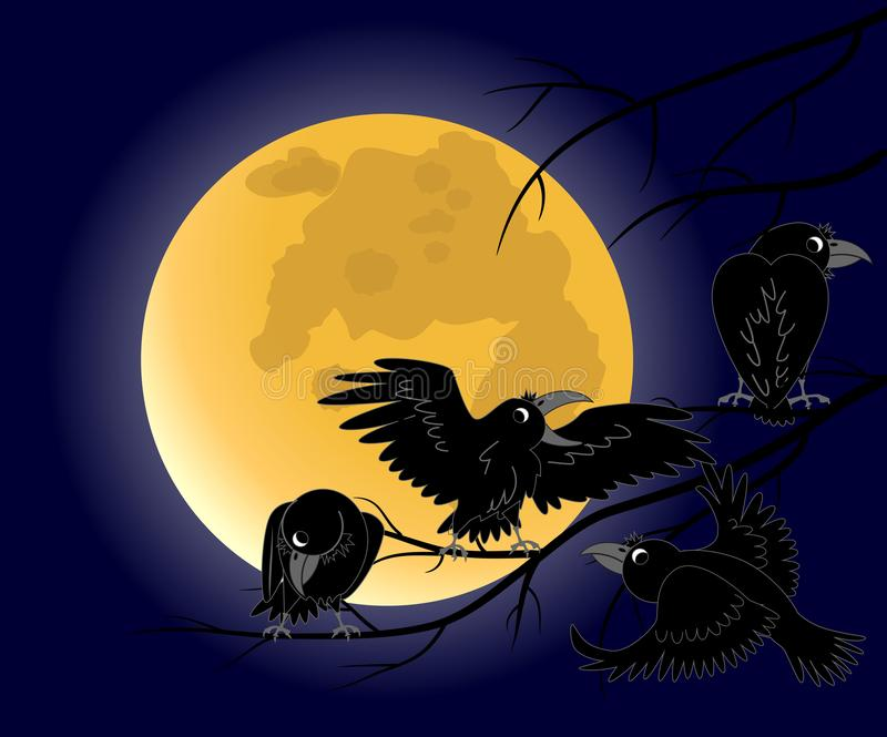Księżyc w pełni, wroni obsiadanie na nieżywym czerni rozgałęzia się ilustracja wektor