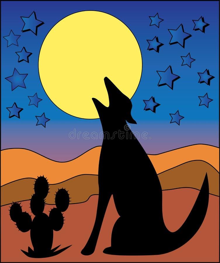 księżyc wycie wilka ilustracja wektor