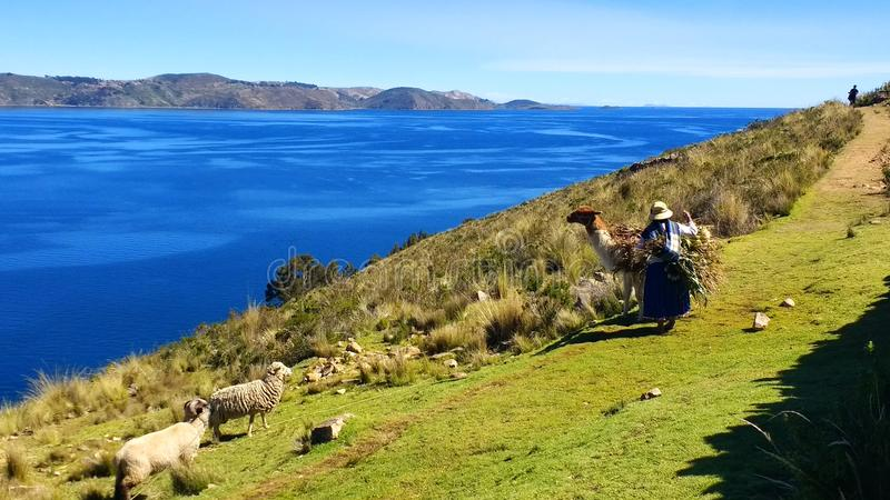 Księżyc wyspa, Jeziorny Titicaca Boliwia obrazy stock