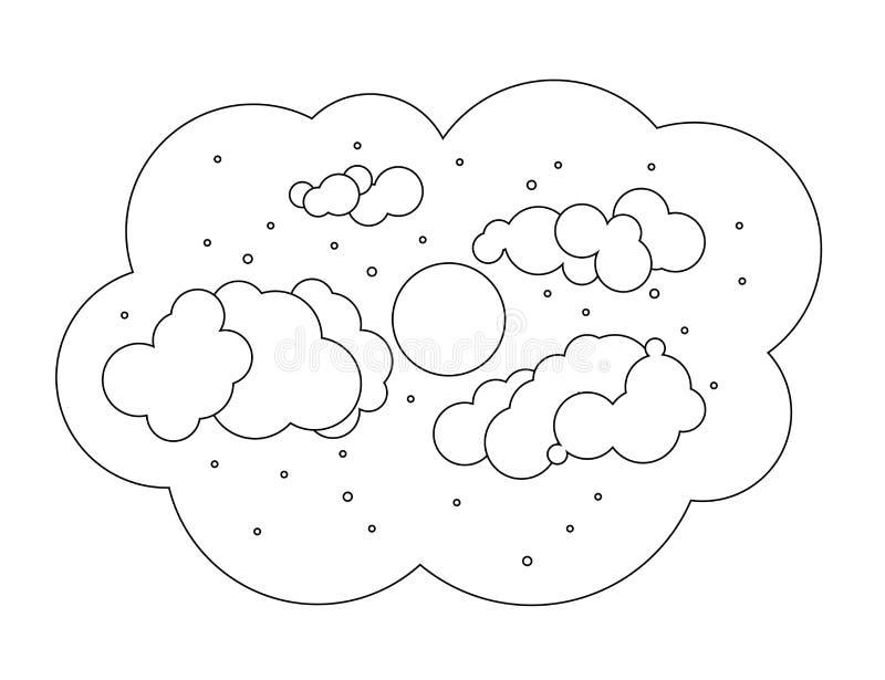 Księżyc z chmurami w niebie czarny white royalty ilustracja