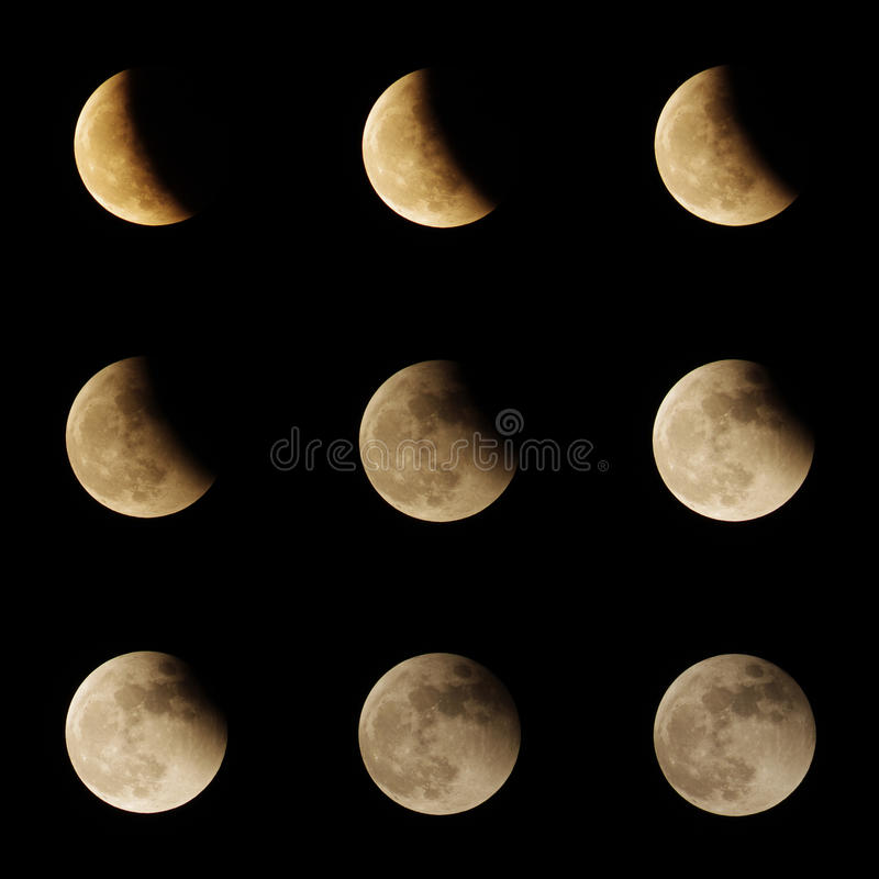 Księżycowego zaćmienia serie zdjęcie stock