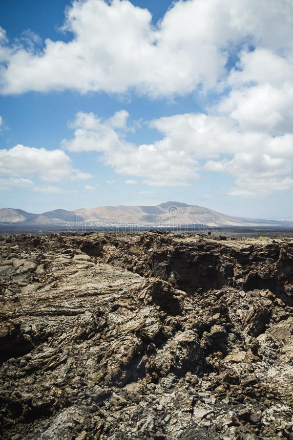 Księżycowy krajobraz przy Timanfaya Naturalnym parkiem Lanzarote obrazy stock
