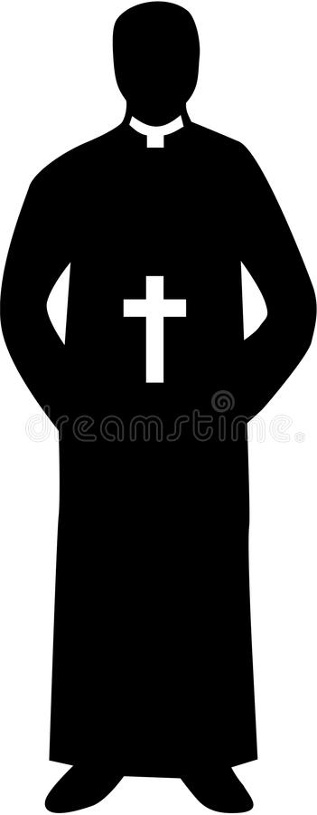 Księdza pastora sylwetka ilustracja wektor