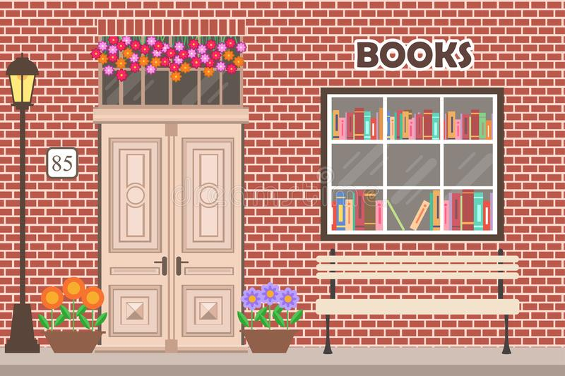 Księgarni bookstore budynku fasada ilustracja wektor
