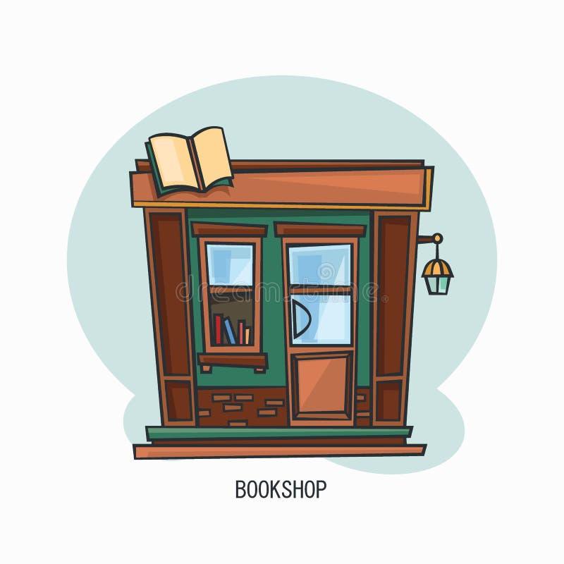 Księgarni lub bookstore budynku fasada, zewnętrzny widok royalty ilustracja