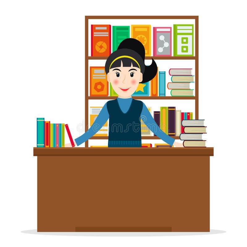 Księgarz przy bookstore ilustracja wektor