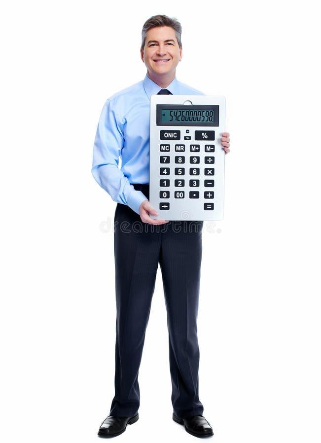 Księgowego biznesmen z kalkulatorem. fotografia royalty free