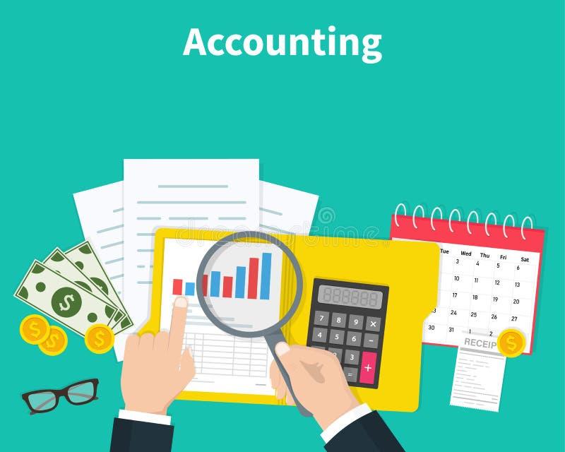 księgowość Biznesmen księgowość, planistyczna strategia, analiza, marketingowy badanie, zarządzanie finansami Biznes ilustracja wektor