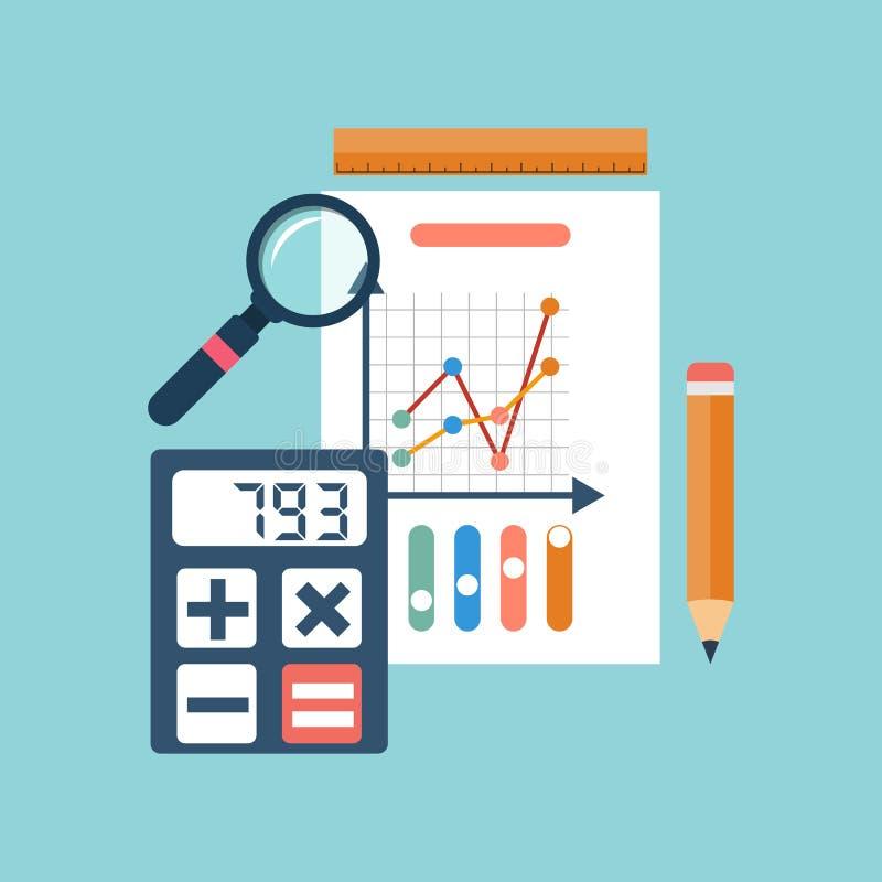 księgowości obliczeń pojęcia sprawozdania finansowego podatki organizacja proces, analityka ilustracja wektor