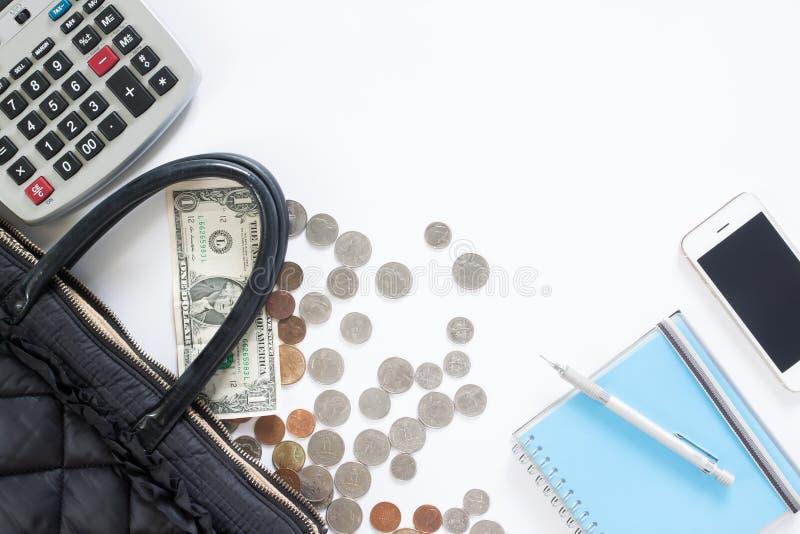 Księgowości pojęcie z kalkulatorem, pieniądze, torebka zdjęcia royalty free