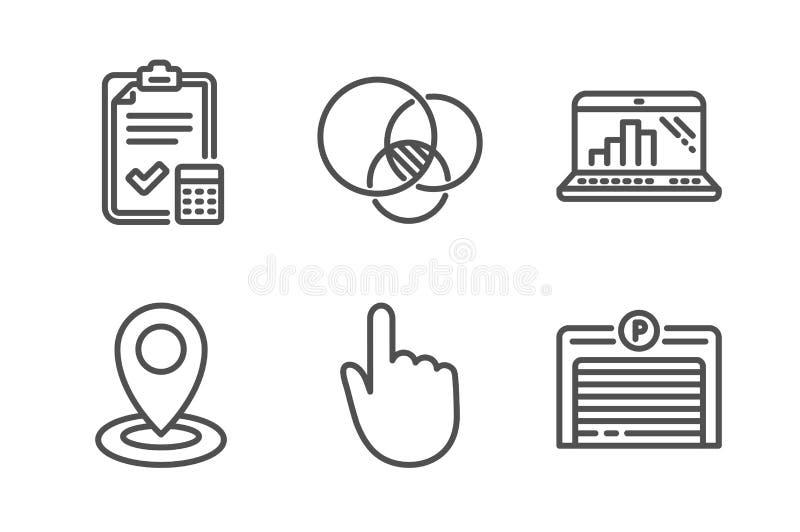 Ksi?gowo?ci lista kontrolna, r?ki stukni?cie i wykresu laptop ikony ustawia?, Euler diagram, znaki, lokacji i gara?u wektor royalty ilustracja