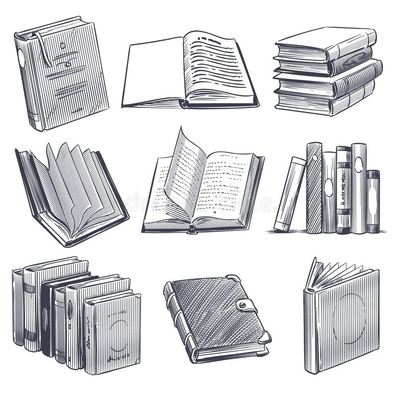 ksi??ka narysowa? r?ka Retro nakreślenia rytownictwa monochromu notatniki Biblioteki i bookstore elementy, stos stare książki wek royalty ilustracja