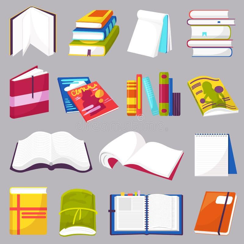 Ksi??ka wektor otwiera? dzienniczka notatnika na p??kach na ksi??ki w ilustracyjnym ustawiaj?cym bookish i ksi??k? biblioteki lub ilustracja wektor