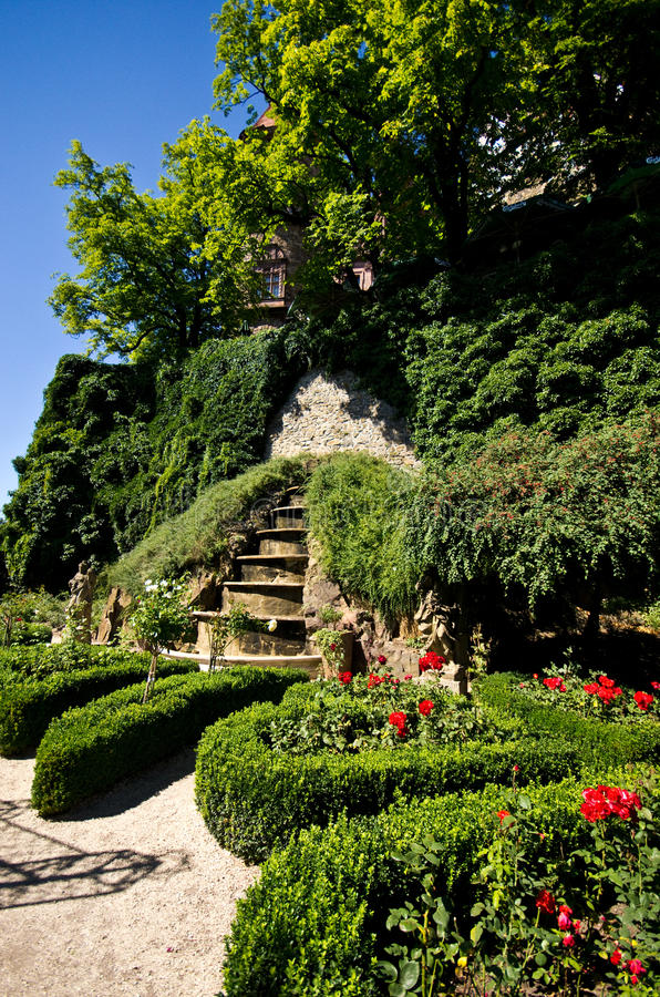 Ksiaz城堡庭院  库存照片