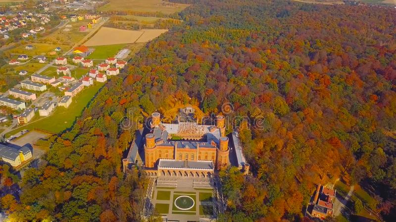 KSIAZ, POLAND -  2019: Aerial view of Castle Ksiaz near Walbrzych, one of the biggest buildings of its kind in this part of Europe.  royalty free stock photography