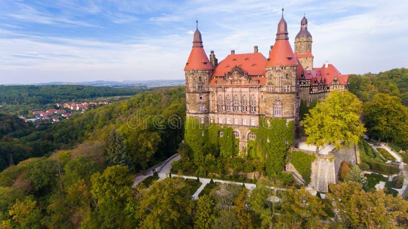Ksiaz castle near Walbrzych in Poland drone aerial view in autumn. KSIAZ, POLAND - September 11, 2018: Ksiaz castle near Walbrzych drone aerial view in autumn stock photography
