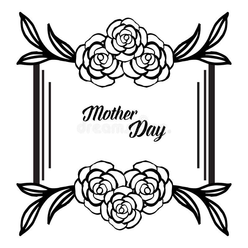 Kształt karciany macierzysty dzień, tekstura rocznika kwiatu rama, odizolowywająca na białym tle wektor royalty ilustracja