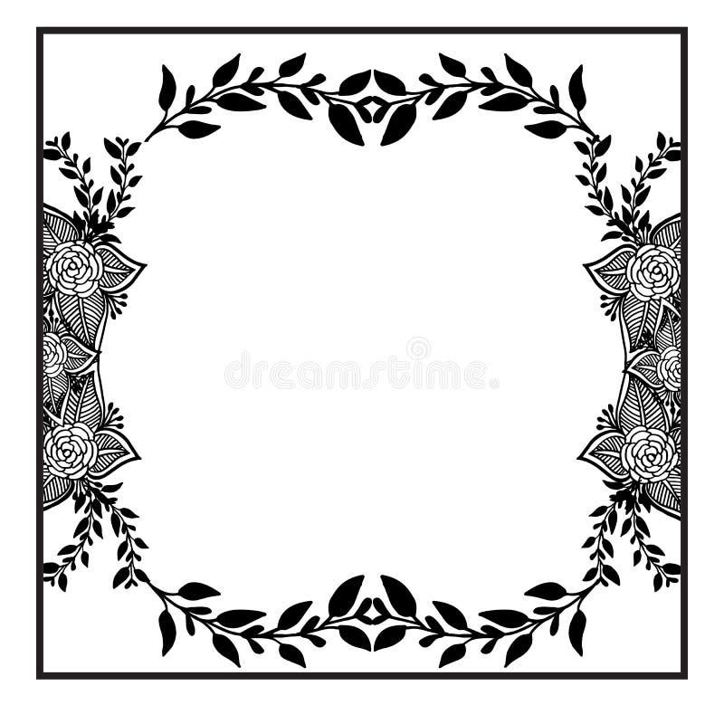 Kształt karta, ornamentuje kwiecistą ramę z ślicznym kwiatem i liściem, wektor royalty ilustracja