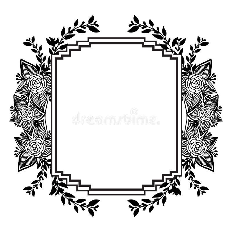 Kształt karta, ornamentuje kwiecistą ramę z ślicznym kwiatem i liściem, wektor ilustracji