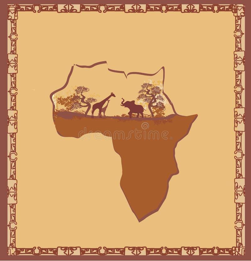 Kształt kontynent, fauny i flora Afryka, royalty ilustracja