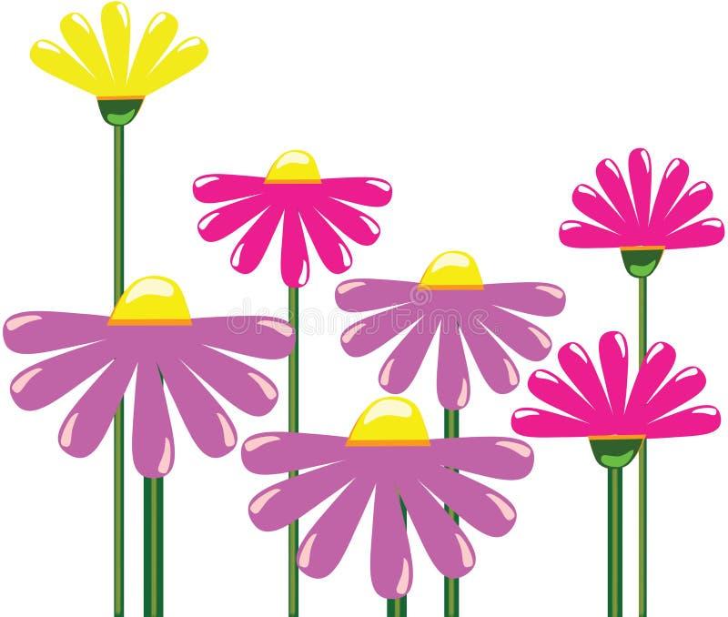 Kształt kwiat prosty Kwiatu wzór z długim trzonem Na biały tle ilustracja wektor