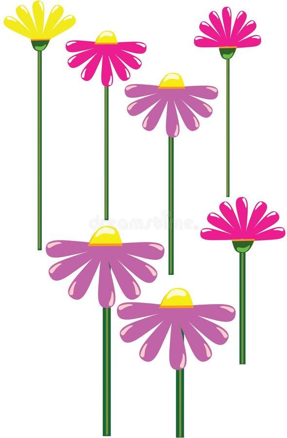Kształt kwiat prosty Kwiatu wzór z długim trzonem Na białym tle ilustracji